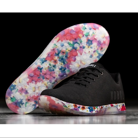Nobull Black Floral Daisy Trainers Size